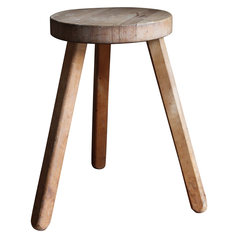 Swedish Designer, Minimalist Stool, Solid Wood, 1970s