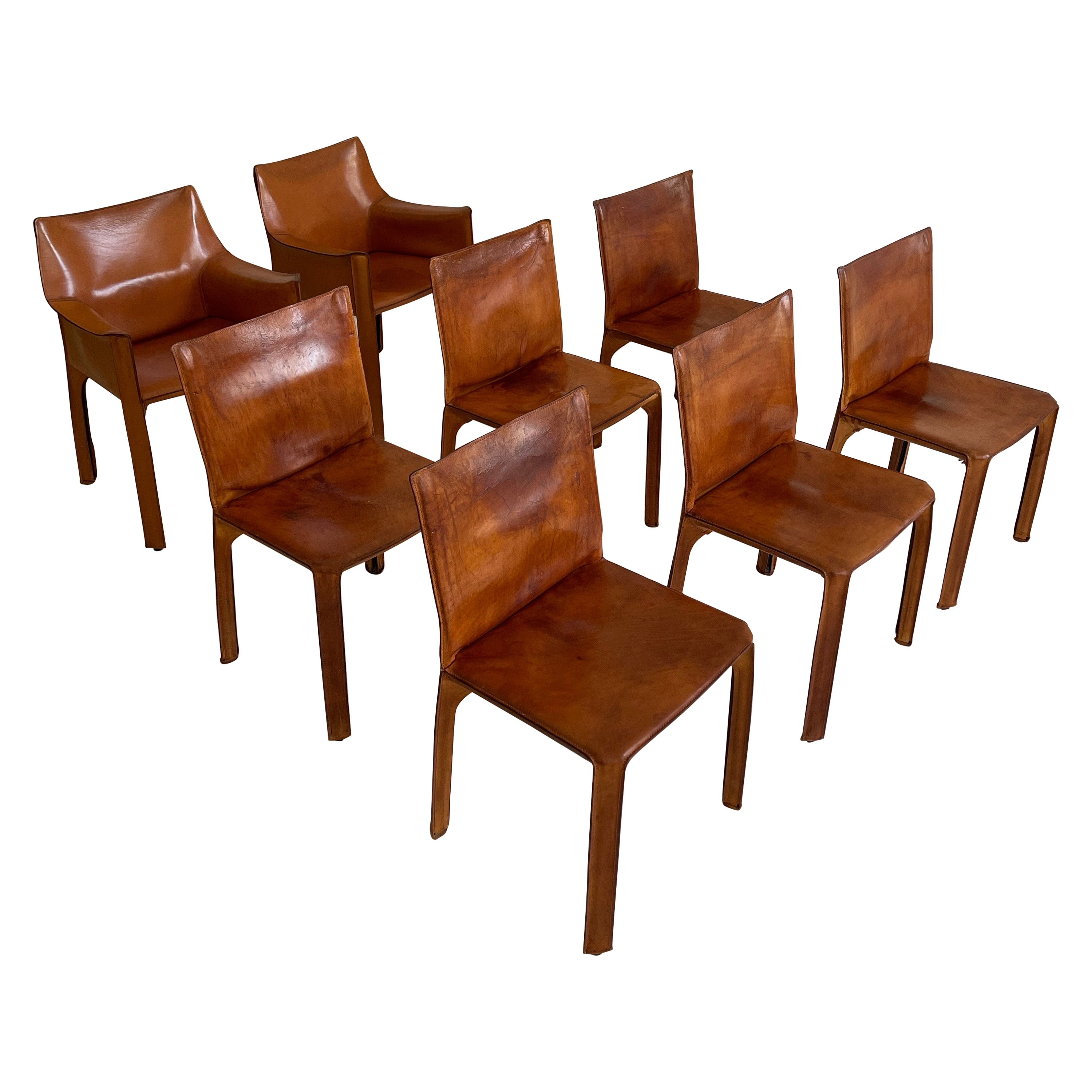 Mario Bellini CAB Chairs Set of Eight Cassina, Patinated Cognac Leather, 1970s