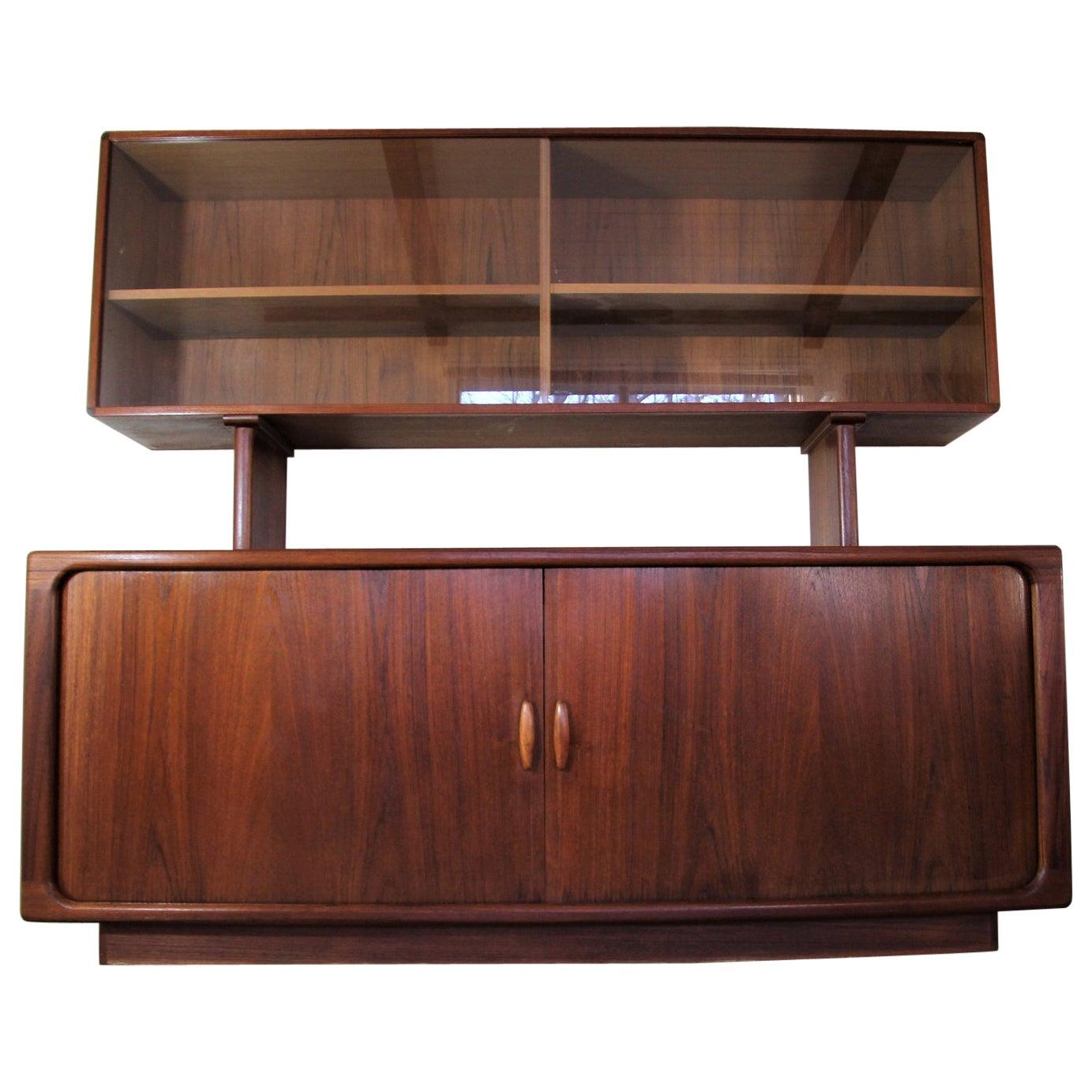 Mid Century Danish Modern Teak 2 Pc Credenza Hutch Cabinet by Dyrlund