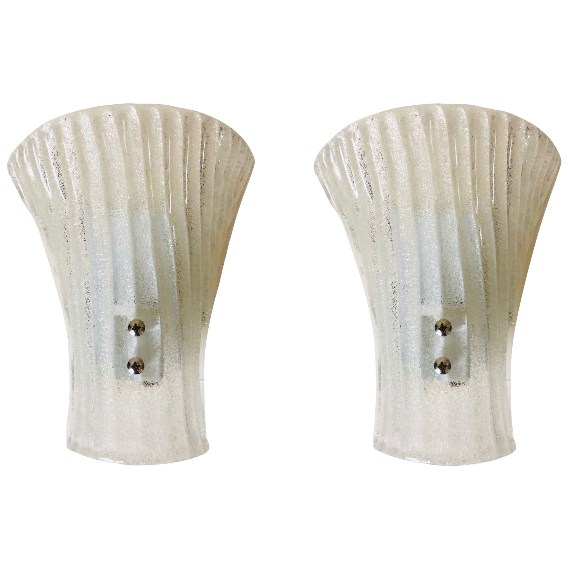 Pair of Midcentury Barovier & Toso Clear Murano Glass Wall Sconces, 1970s