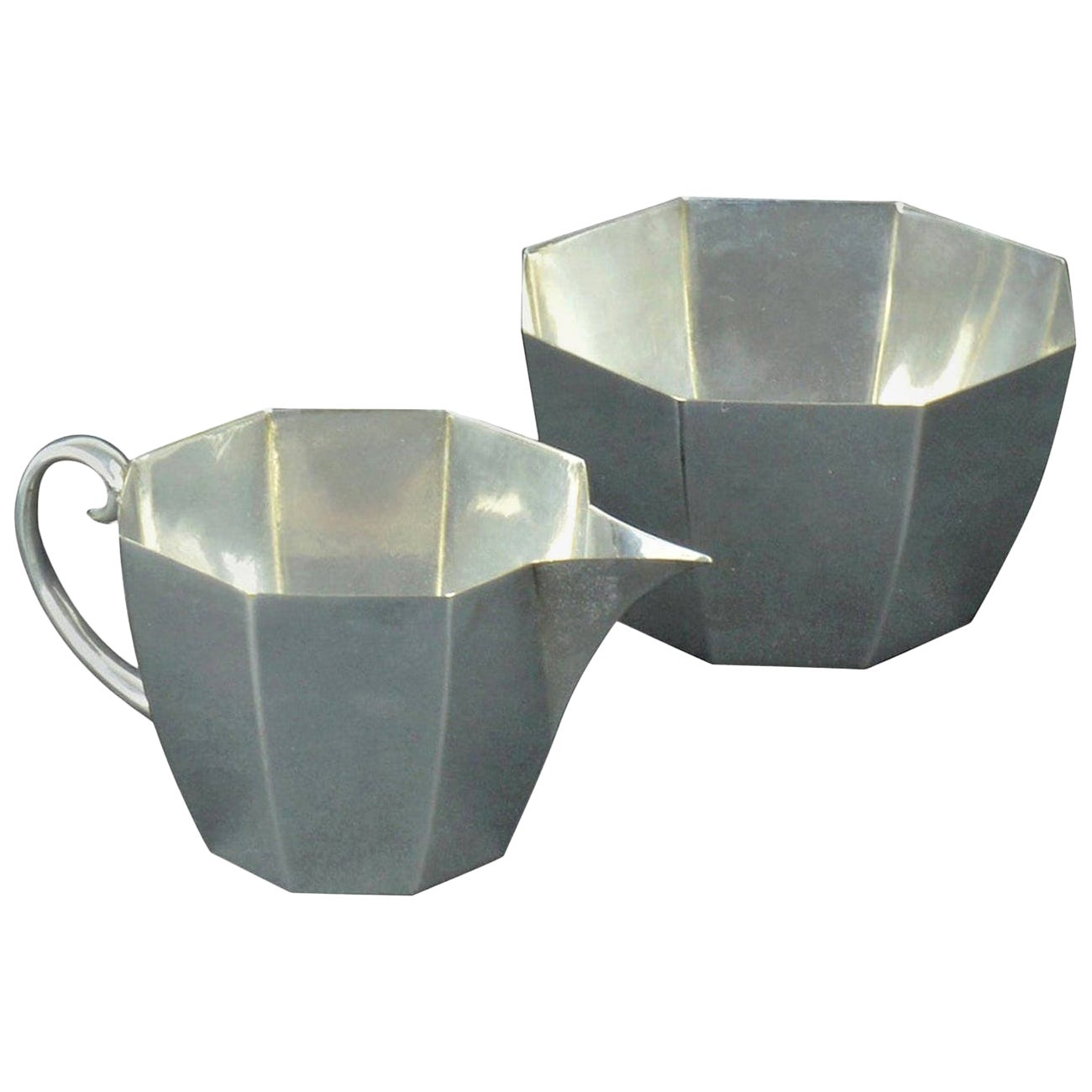 Secessionist Style Silver Plated Milk and Sugar by WMF, German, circa 1900