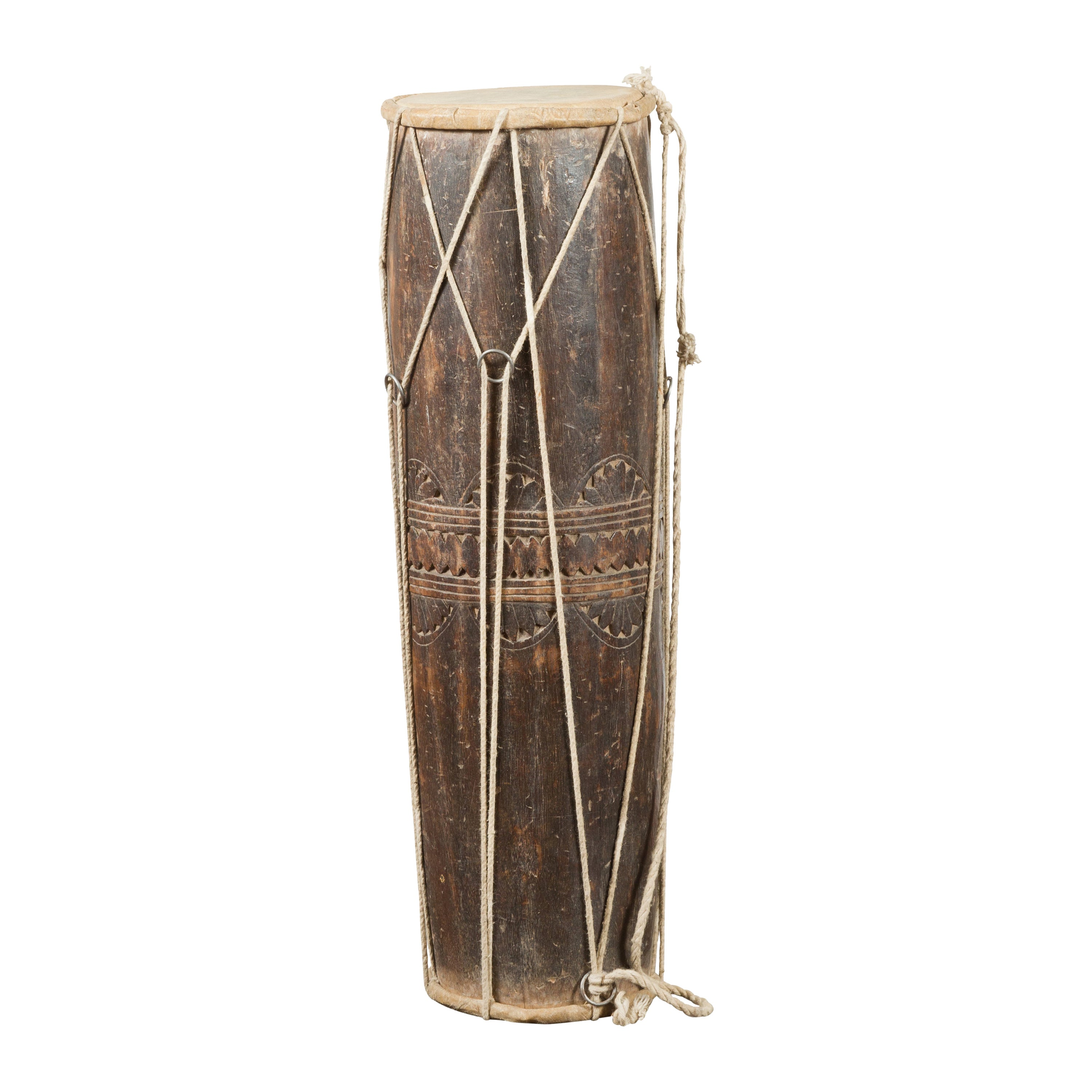 19th Century Thai Ceremonial Drum with Ropes and Leather Drumhead