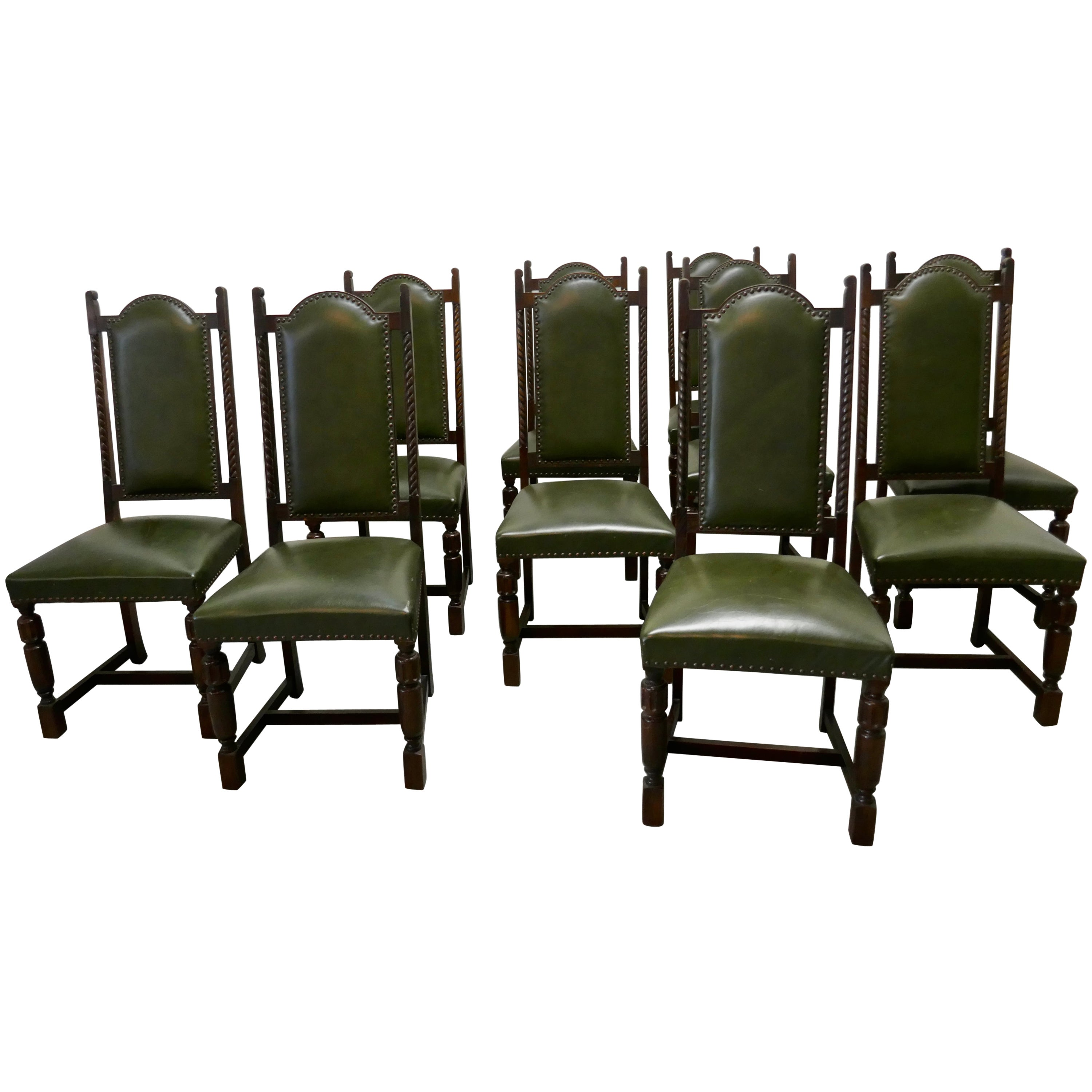 Set of 10 Arts & Crafts Oak and Leather Dining Chairs