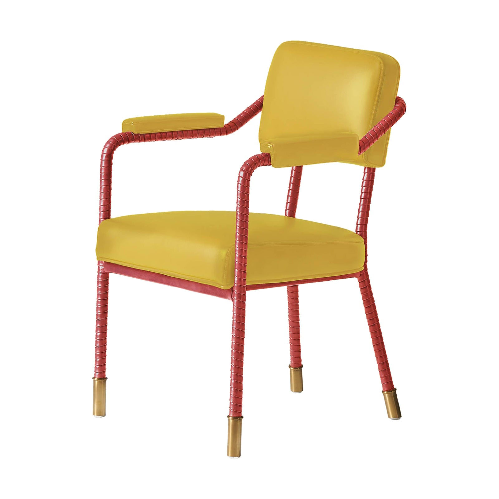 And Objects Easton Dining Chair, Fully Wrapped Upholstered Leather Pear&Carmine