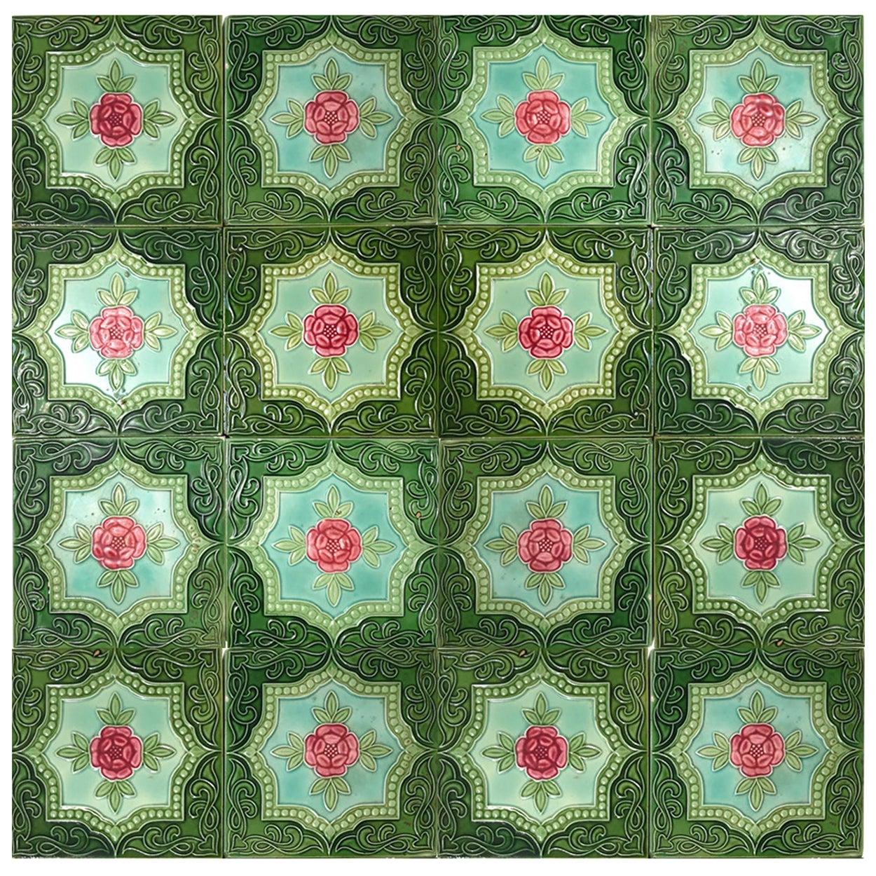 One of the 20 Authentic Glazed Art Nouveau Relief Tiles Rose, Belga, circa 1930s