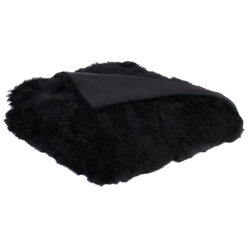 Black Toscana Sheep Fur Full Size Blanket with Silk Backing by JG Switzer