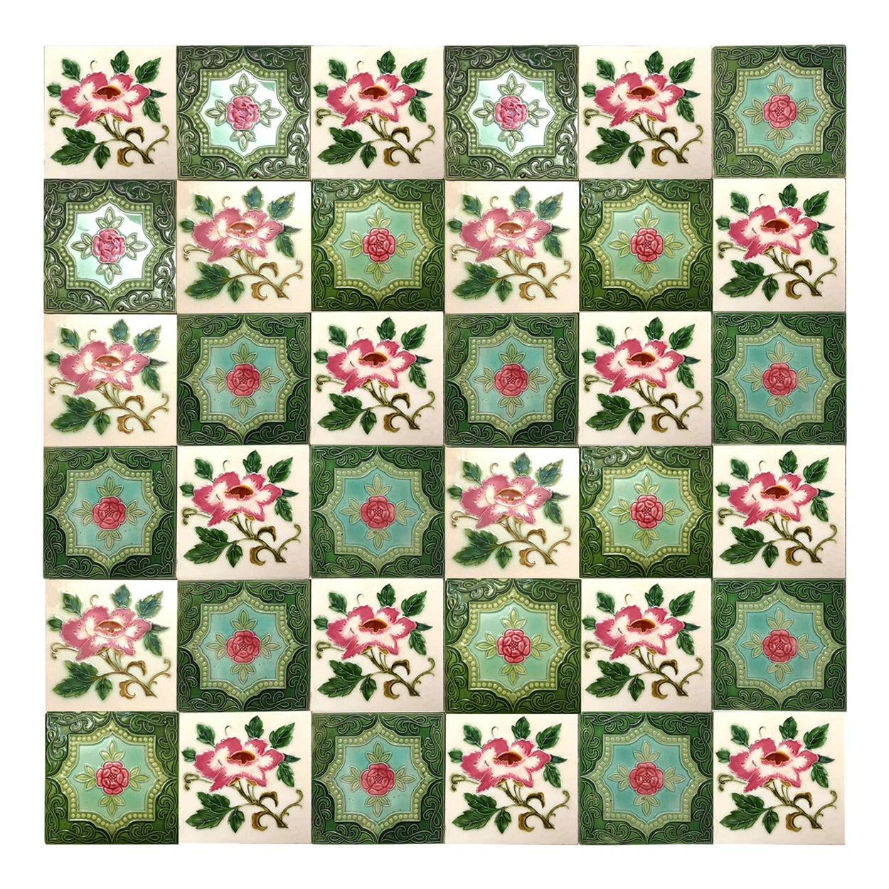 1 of the 20 Mixed Authentic Glazed Art Nouveau Relief Tiles Rose, Belga, 1930s