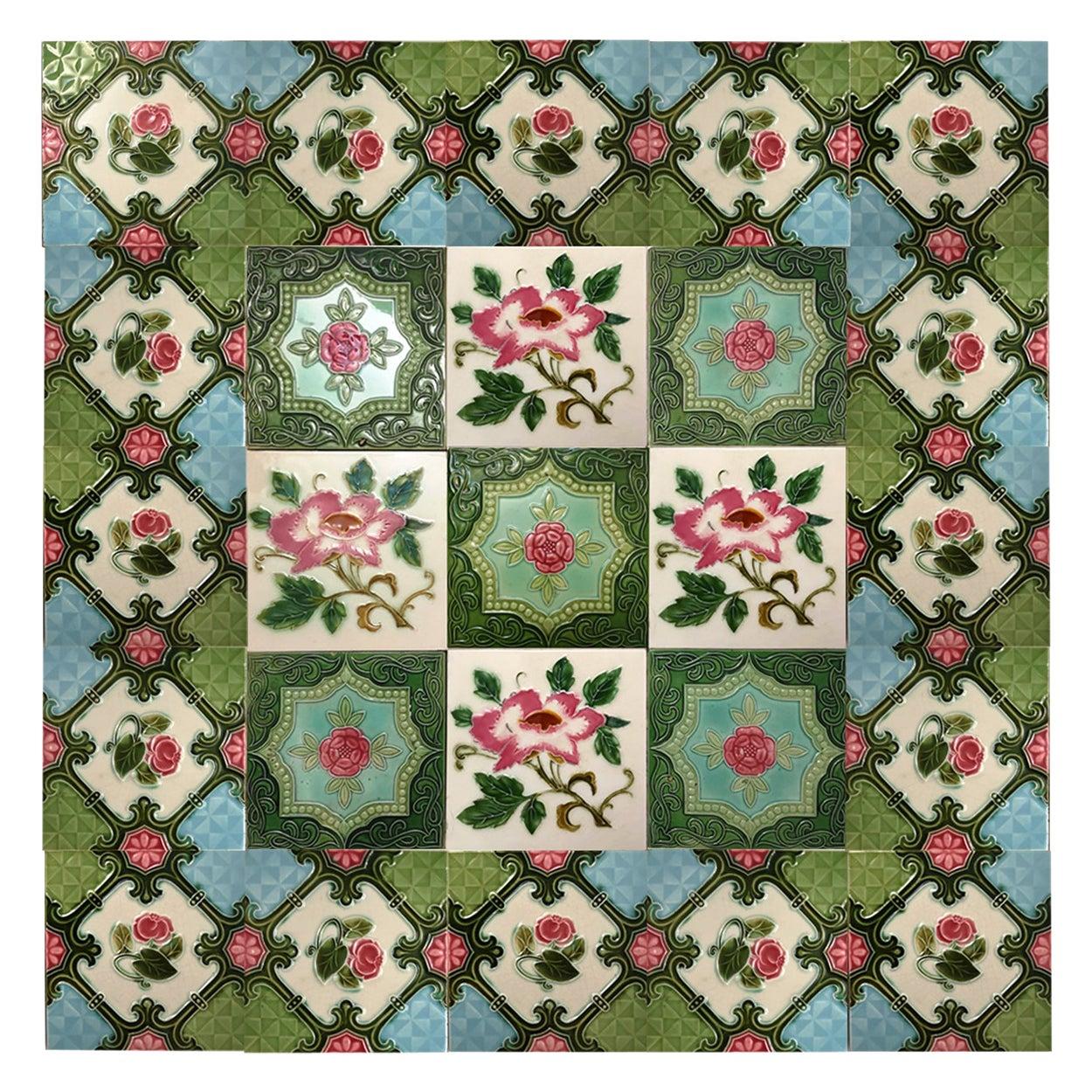 Mix of 25 Glazed Art Nouveau Relief Tiles, Belga, circa 1930s