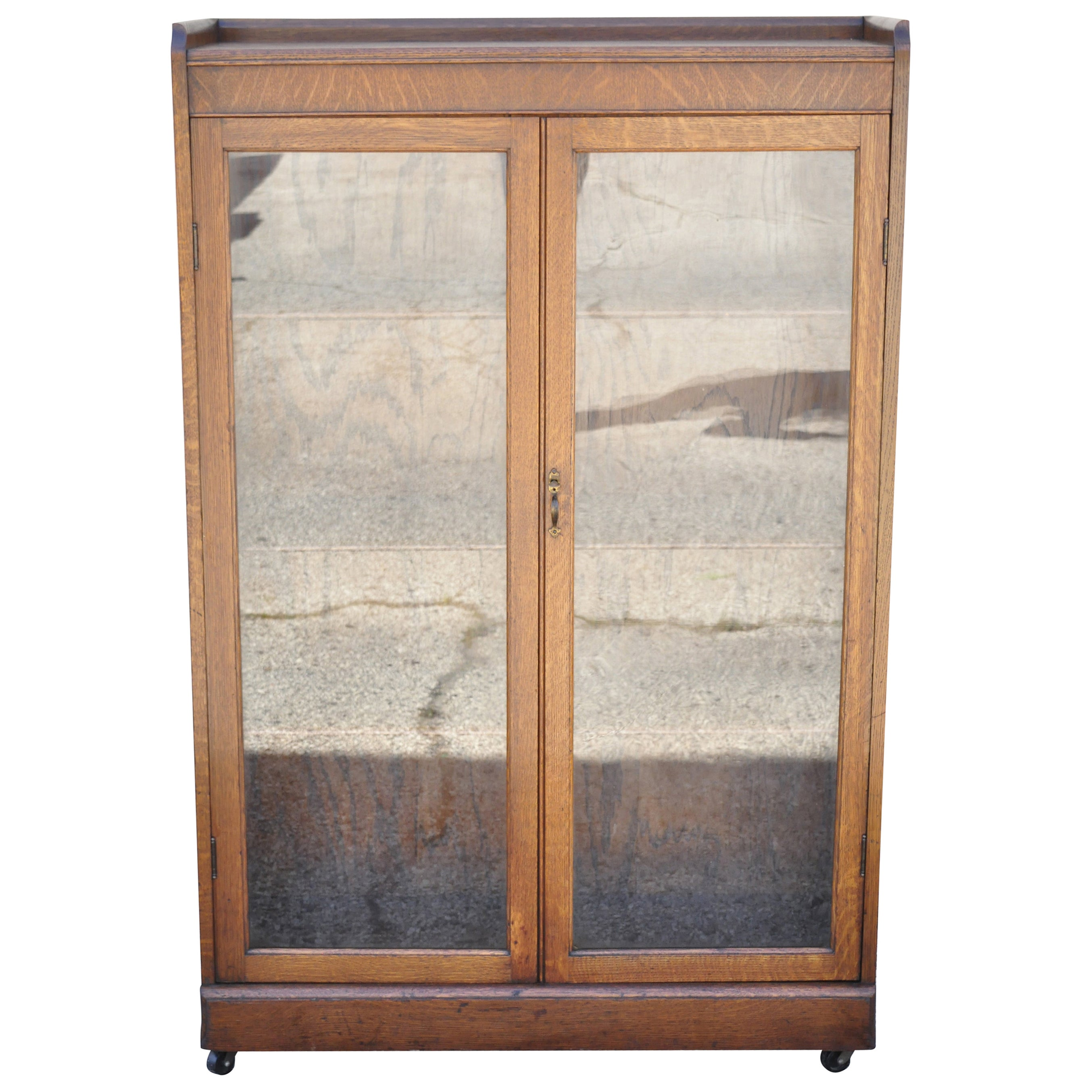 Antique Victorian Mission Oak Glass Two Door Small Bookcase Curio Cabinet