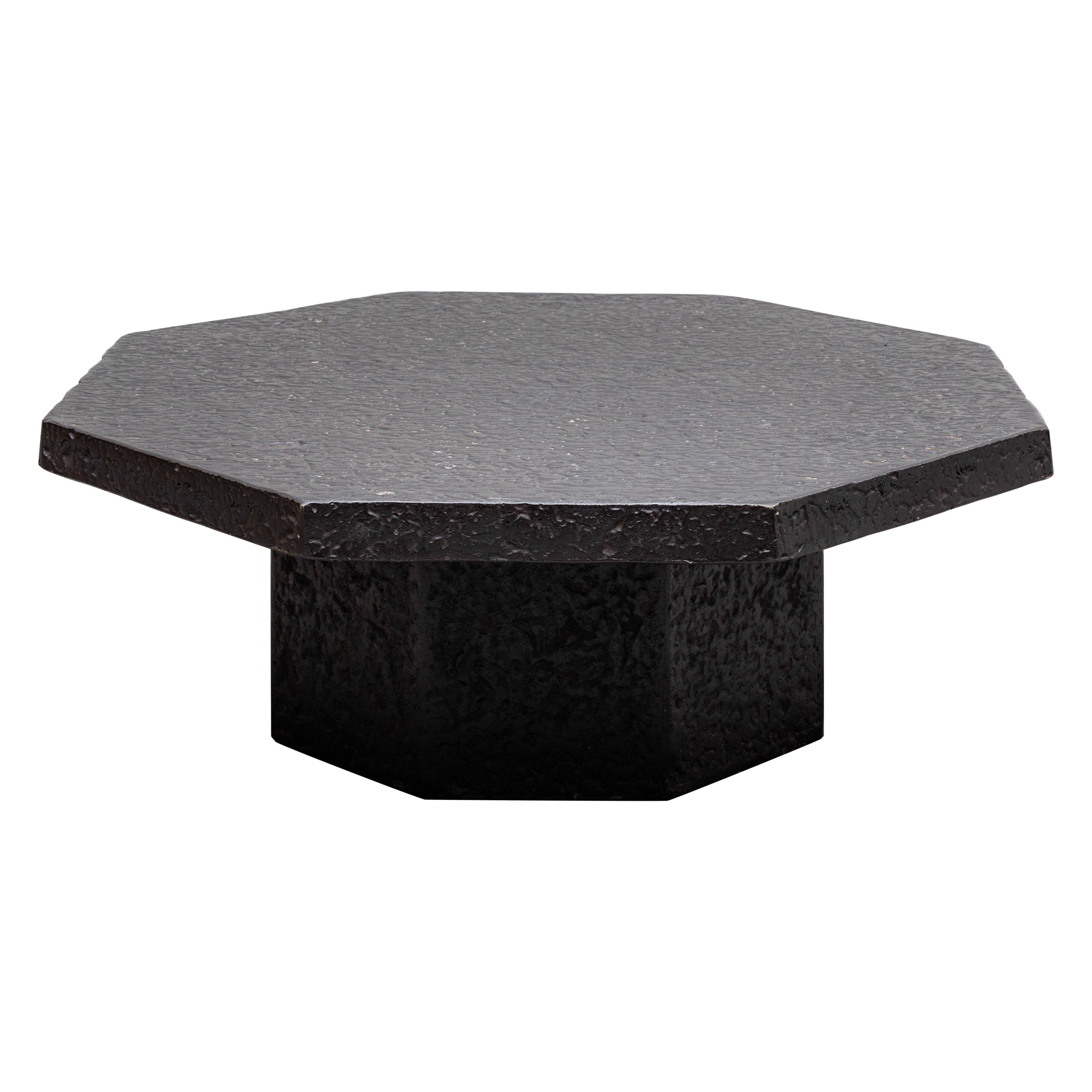 Brutalist Octagonal Faux Lava Stone Coffee Table