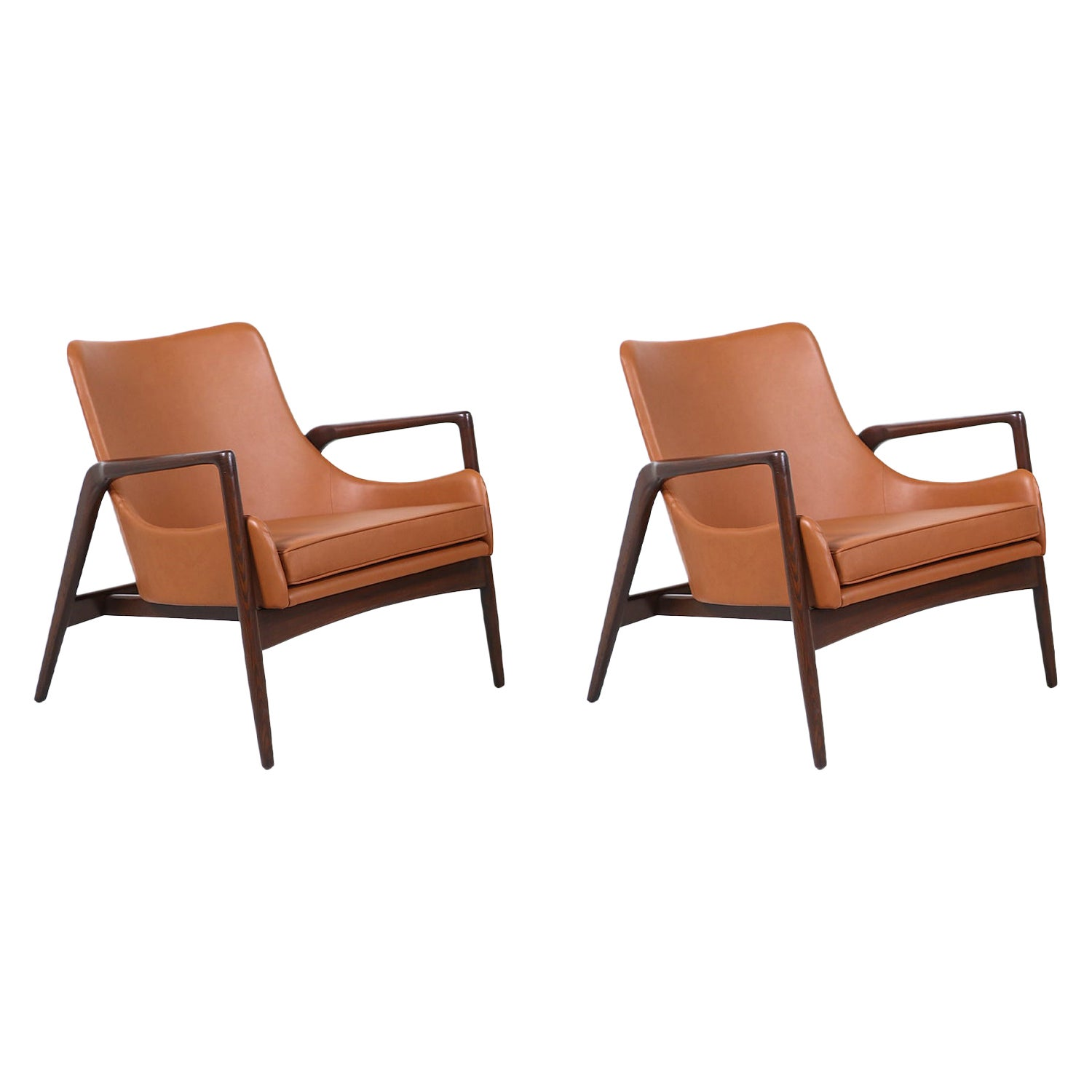 Ib Kofod-Larsen Leather Sculpted Lounge Chairs for Selig