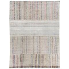 9.2x12.2 Ft Vintage Cotton Rag Rug with Pastel Colored Stripes. Flat-weave Kilim