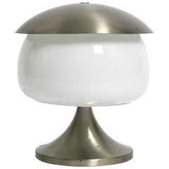 Large Italian table lamp made of solid aluminum and glass in space age design