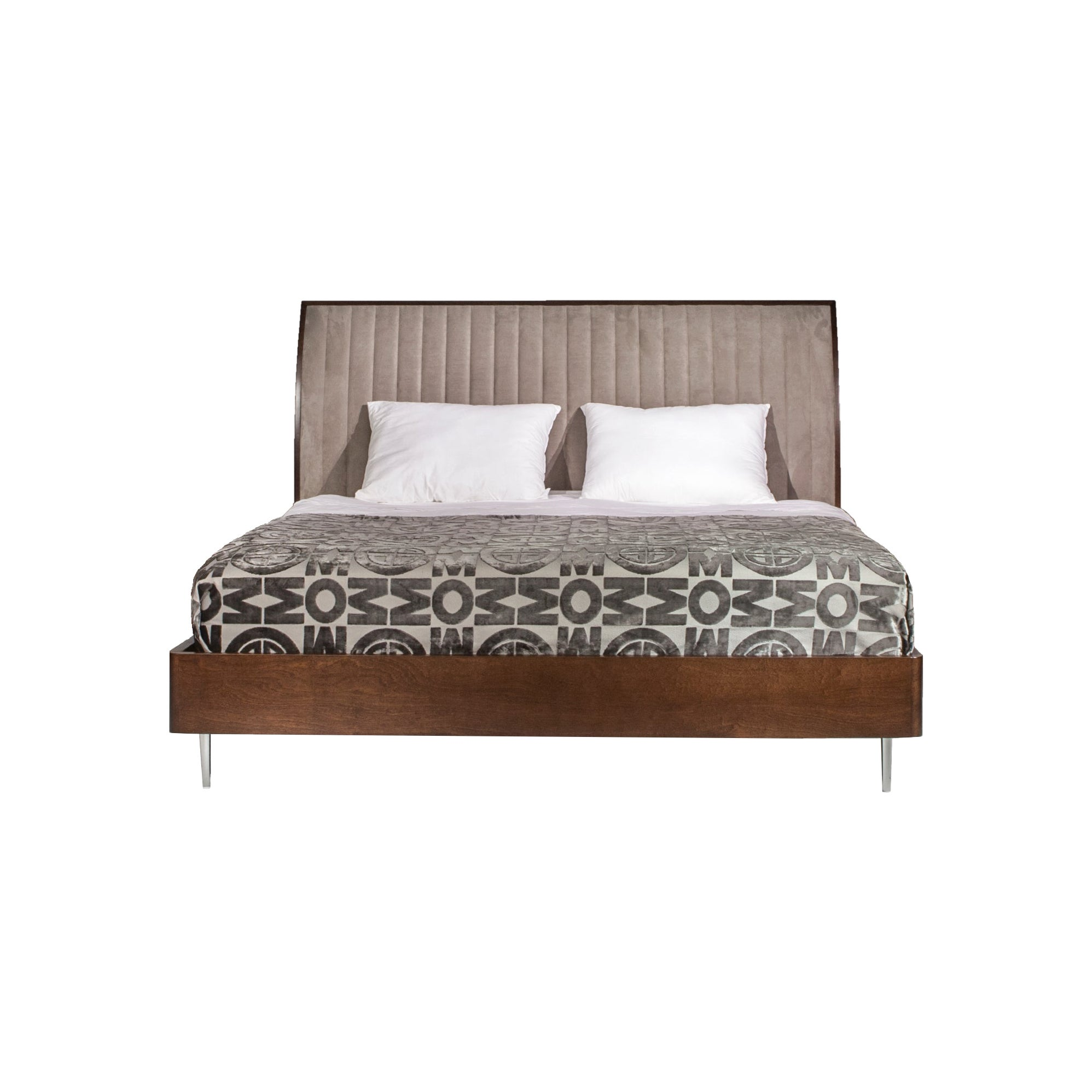 Versa Bed, Solid Walnut Wood Bed Frame with Upholstered Headboard