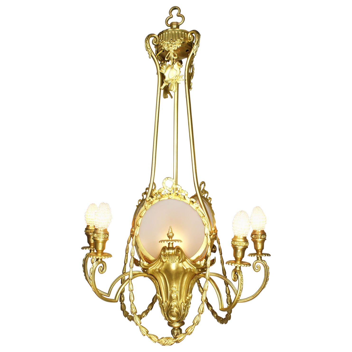 French Belle Époque Neoclassical Revival Style Gilt Metal Six-Light Chandelier