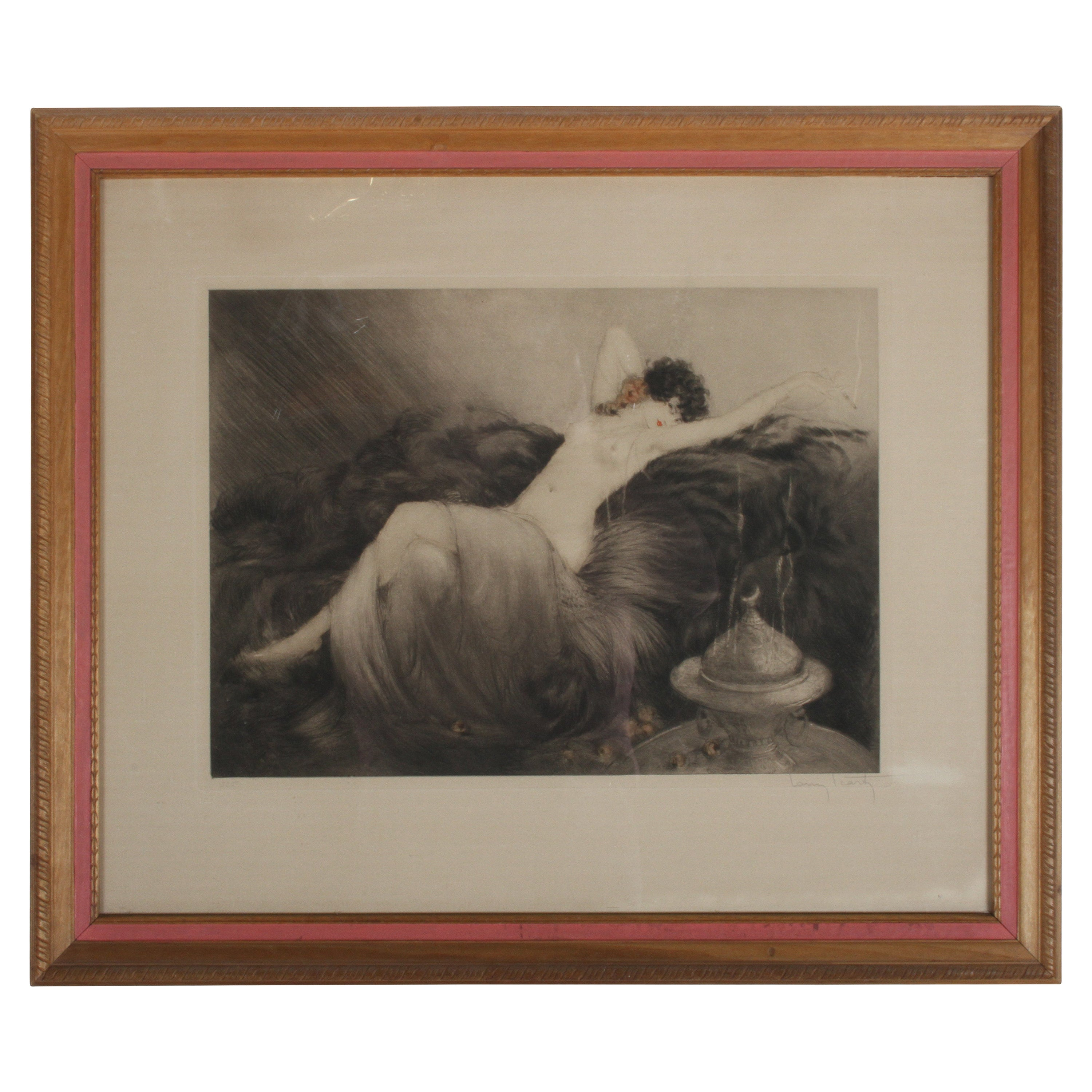 """Original Signed Louis Icart Etching Titled """"Idleness"""" or Laziness"""" Bear Rug 1925"""