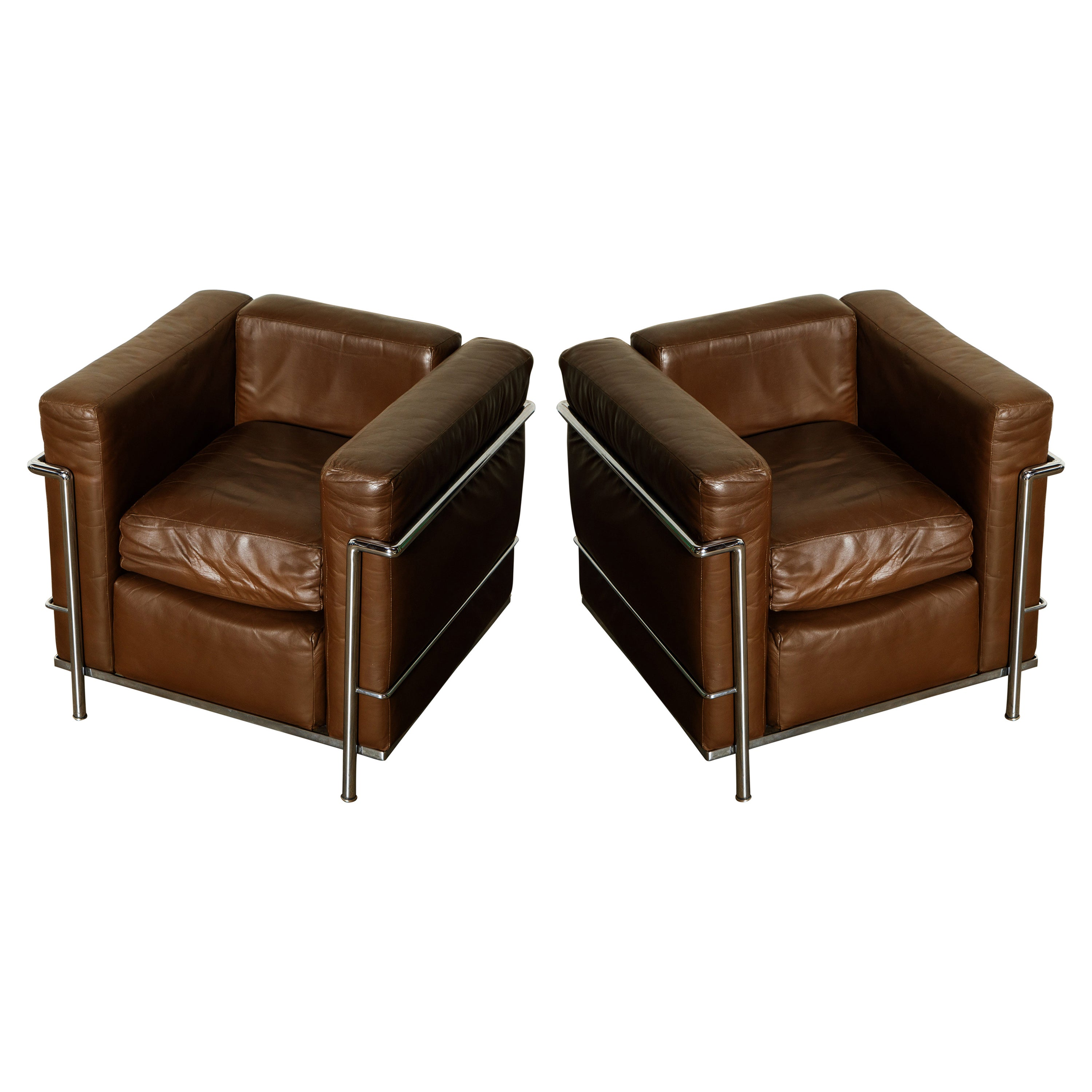 'LC2' Club Chairs by Le Corbusier for Cassina, Early Year Productions, Signed
