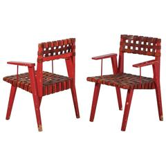 Leather Webbed Chairmaster Chairs with Red Lacquered Frame, USA, 1950s