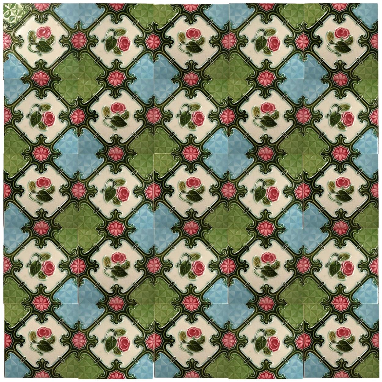1 of the 24 Authentic Glazed Art Nouveau Relief Tiles Rose, Belga, circa 1930s