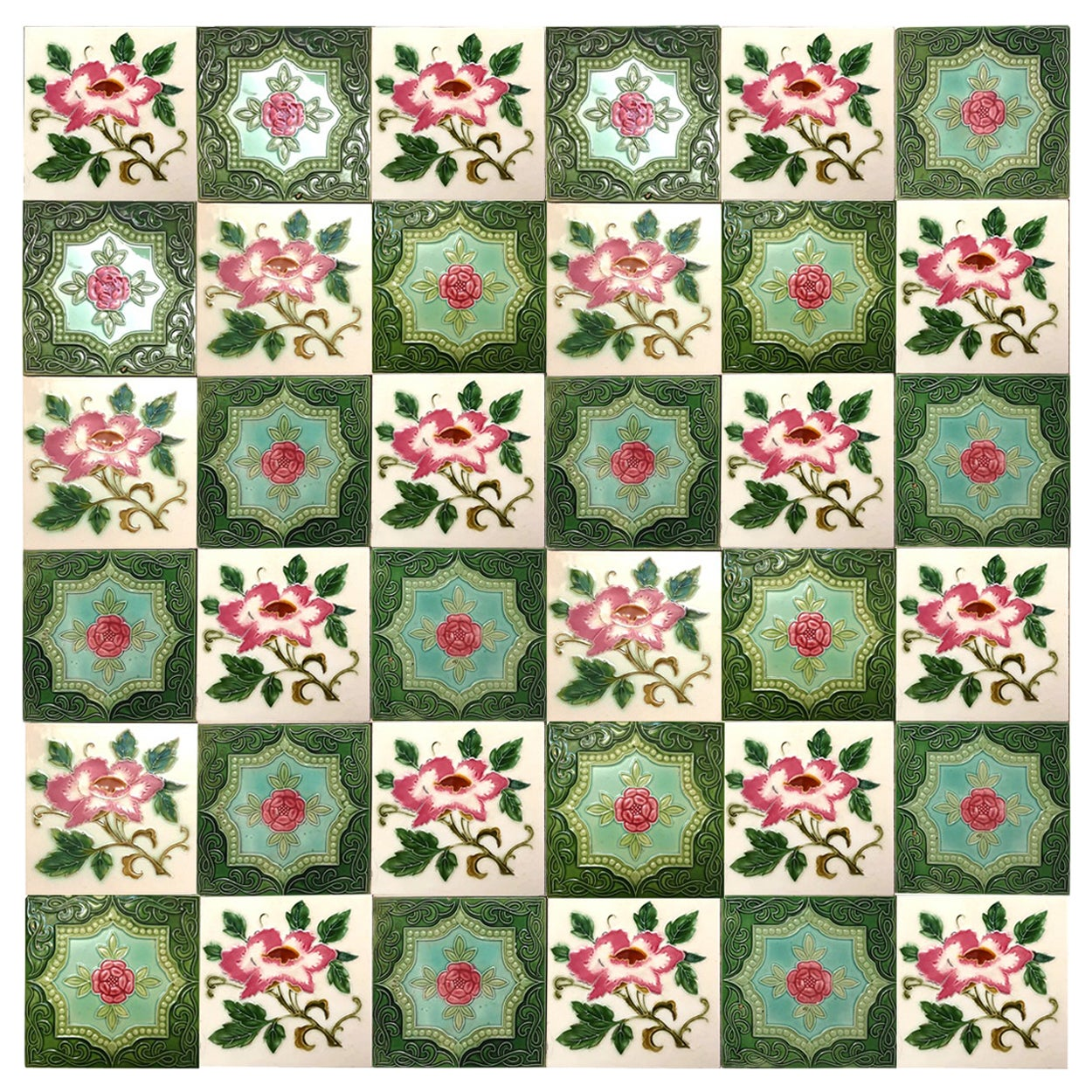 1 of the 36 Mixed Authentic Glazed Art Nouveau Relief Tiles Rose, Belga,  1930s