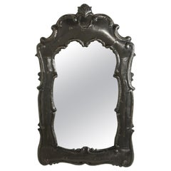 Rococo Style Wall Mirror with Ornate Painted Black Carved Wood Frame
