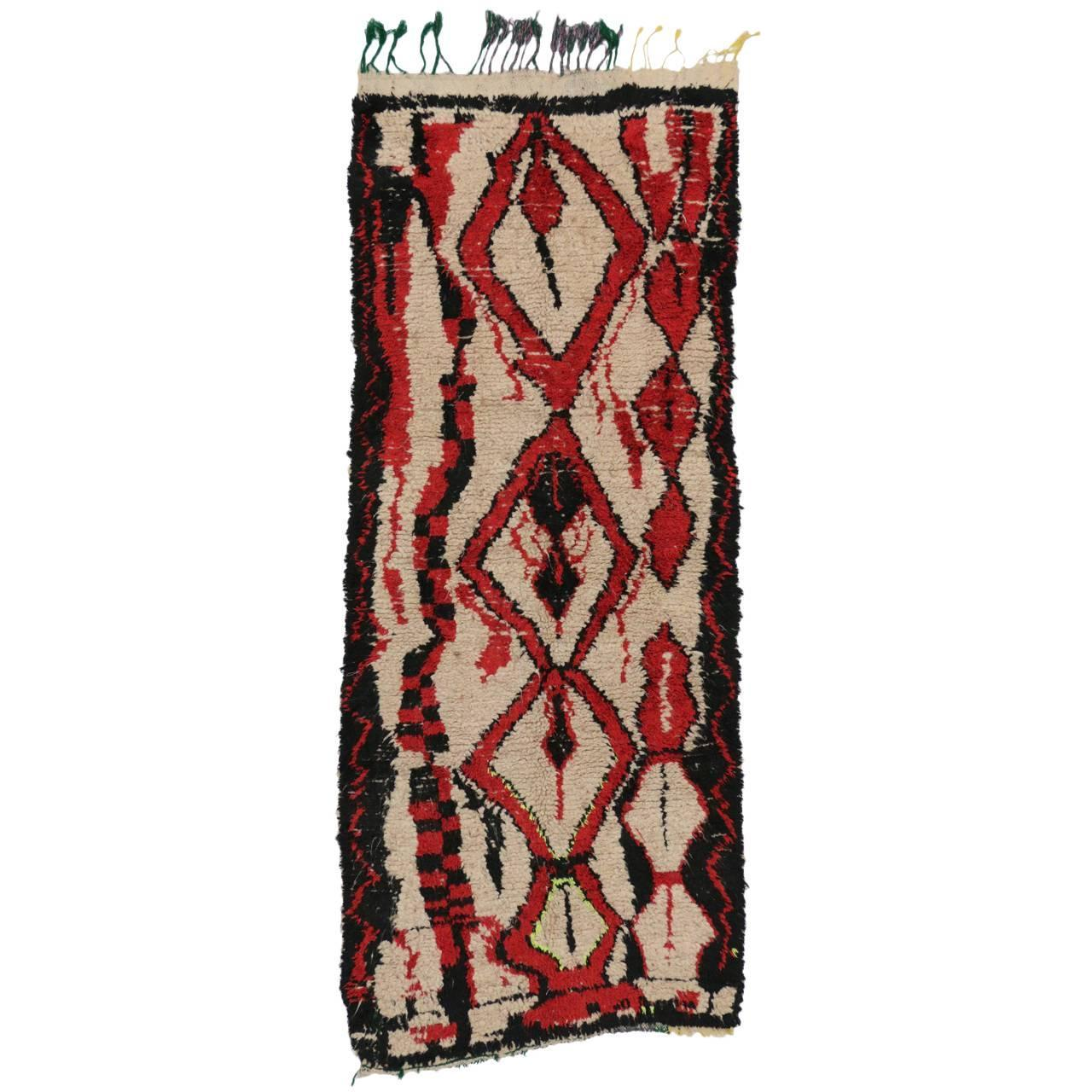 Mid Century Modern Style Red Berber Moroccan Rug With: Mid-Century Modern Berber Moroccan Carpet Runner With