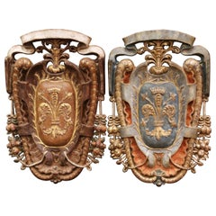 Pair of Early 20th Century Italian Carved Gilt and Painted Wall Hanging Shields