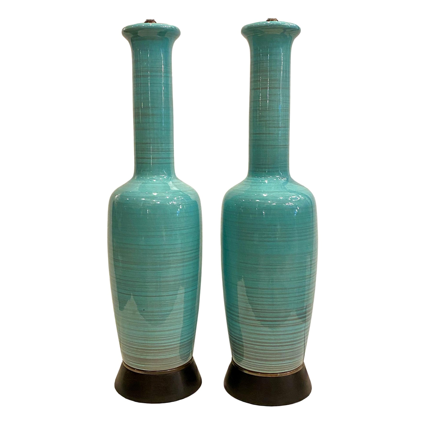 Pair of Midcentury Blue Porcelain Lamps