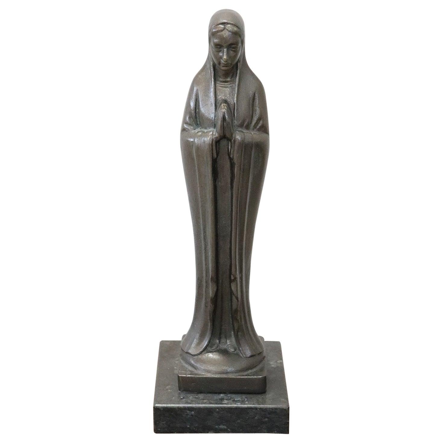 Italian Art Deco Bronze Sculpture, Virgin Mary in Prayer
