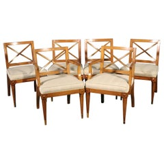 Set 6 Brass Inlaid Walnut Directoire Hollywood Regency Style Dining Chairs C1950