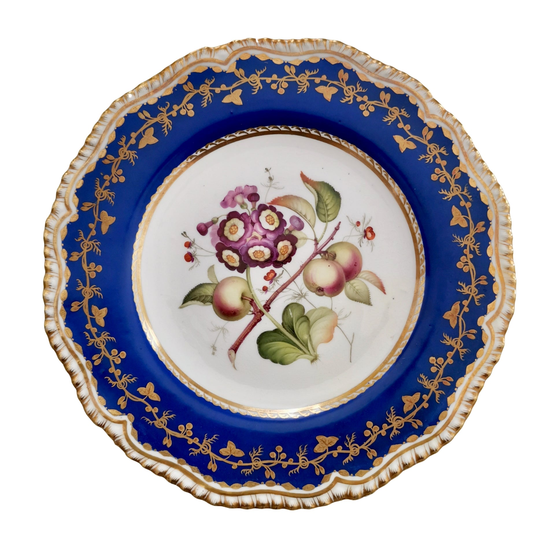 Coalport Porcelain Plate, Blue with Auriculas and Apples, ca 1830