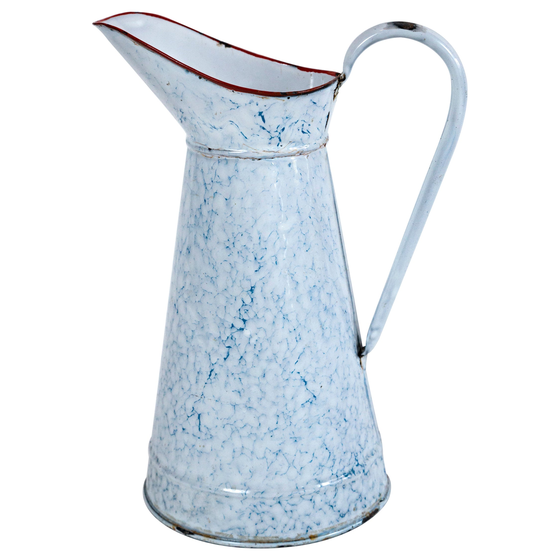 Vintage French Blue and White Enamelware Pitcher, circa 1920's
