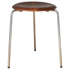Vintage 3 Dot Stool in Teak and Metal Design Arne Jacobsen for Fritz Hansen