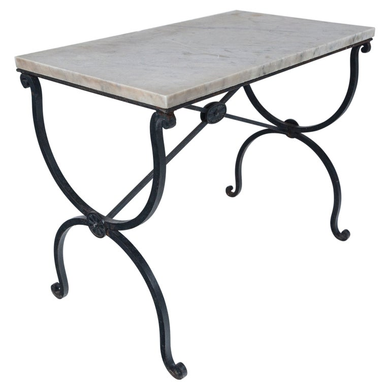 Marble Top Iron Table, France, Early 20th Century For Sale
