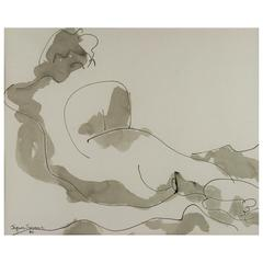 Reclining Nude Painting by Jaques Simons