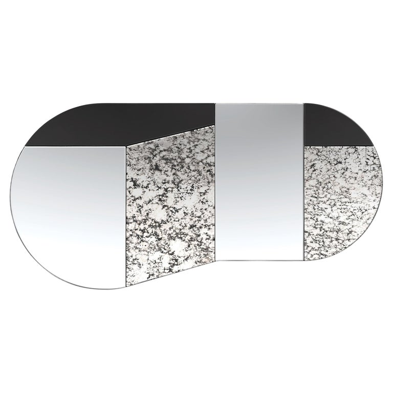 Black and Speckled WG.C1.C Hand-Crafted Wall Mirror For Sale