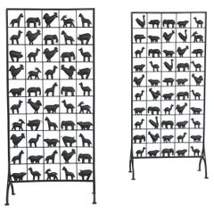 Atelier Marolles Wrought Iron Animal Screens, France, 1950