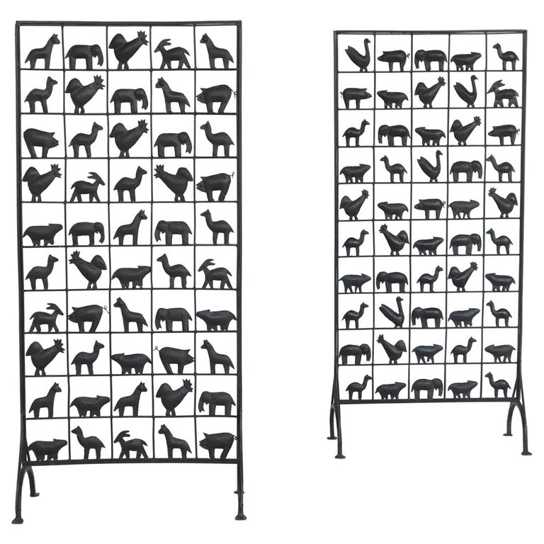 Atelier Marolles Wrought Iron Animal Screens, France, 1950 For Sale