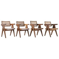 Set of 6 Pierre Jeanneret Office Chair Chandigarh, India Model PJ-SI-28-A, 1950s