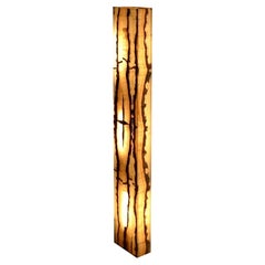 Hand Carved Rectangular Floor Lamp in Onyx