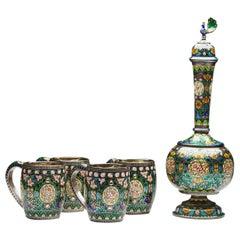 Indian Jaipur Five-Piece Enamelled Parcel-Gilt Silver Drinks Set, 20th Century