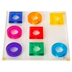 Haziza Jewel Toned Green, Purple, Orange, Pink, Blue Lucite Tic Tac Toe Game