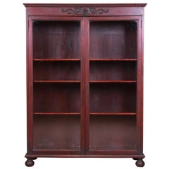 Victorian Carved Mahogany Bookcase with Old Man of the North Carving, Circa 1890
