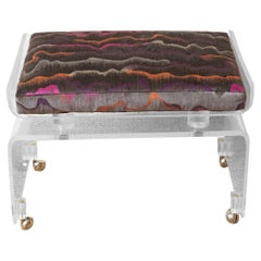 Vintage Clear Lucite Vanity Bench on Wheels with Upholstered Gray Cushion