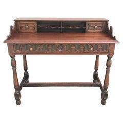 Arts & Crafts Style Carved Desk