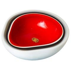 Murano Flavio Poli Triple Cased White, Red, Black Glass Bowl Vintage