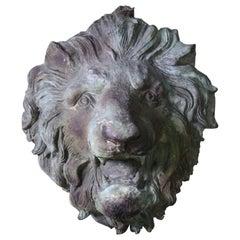 20th Century Huge Roaring Bronze Lion French Chateau Gateway Verdigris