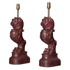 Antique Pair of Grand Tour Faux Porphyry Table Lamps