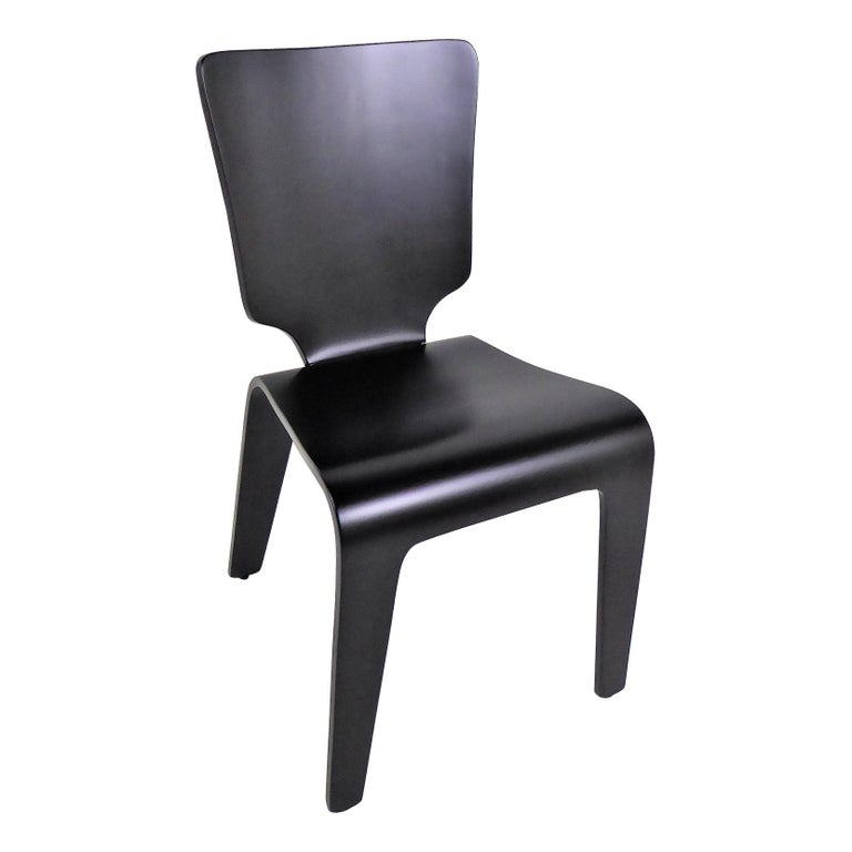 1947 Mid Century Black Lacquered Thaden-Jordan Side Chair For Sale