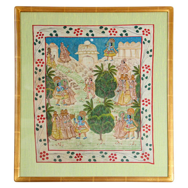 Krishna, Radha, and the Gopis Meet a Young Prince Miniature Painting For Sale